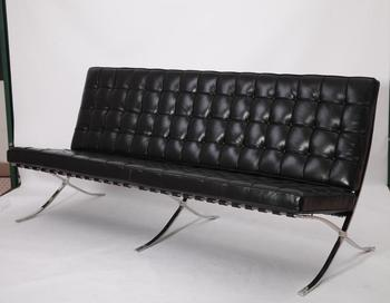 Modern Clic Furniture Mies Van Der Rohe Barcelona Sofa 3 Seater Reproduction