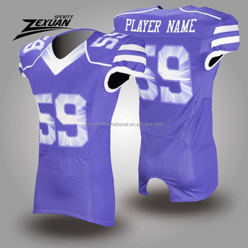 5091462972c Thai quality polyester mesh customize your own purple american football  jerseys