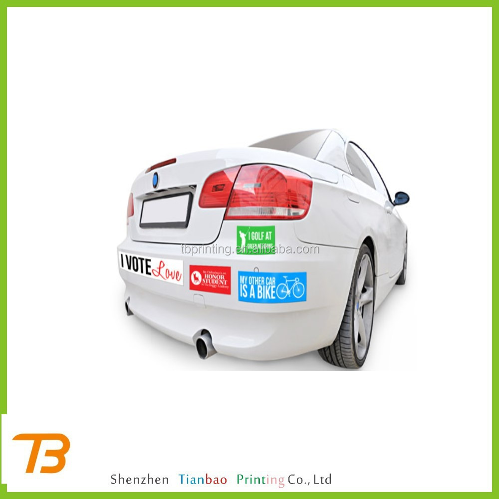 Custom laminated vinyl bumper stickers waterproof bumper stickers reflective bumper stickers