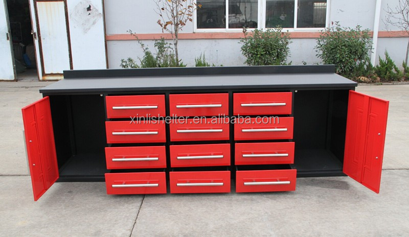 12 Drawer 10ft Heavy Duty Work Bench Metal Garage Tool Cabinet