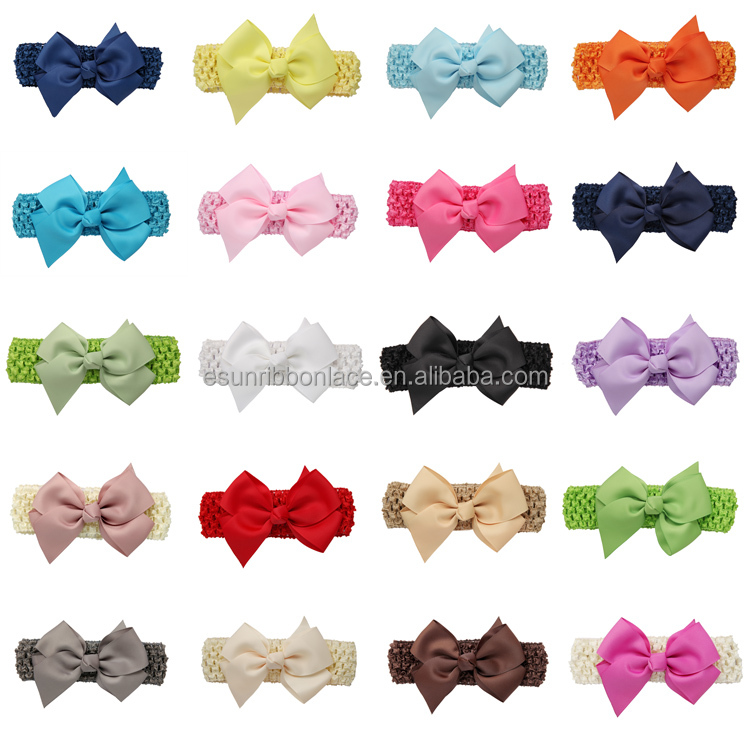 Handmade wholesale hair accessories baby ribbon elastic turban <strong>headbands</strong>