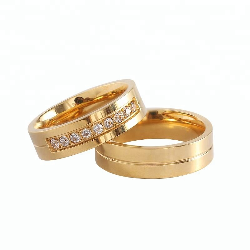 Hot sale Gold stainless steel CZ Couple Wedding <strong>Ring</strong>