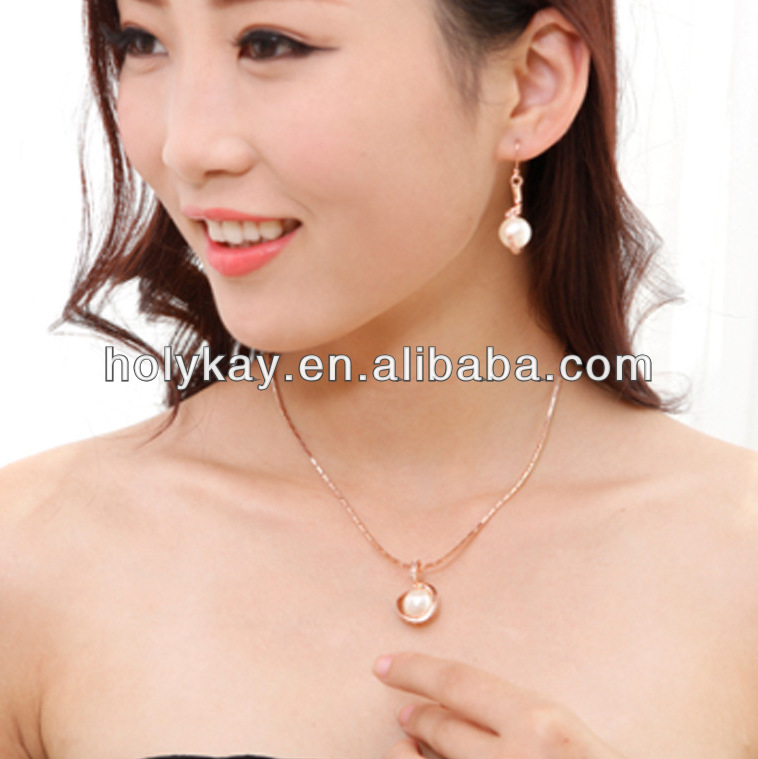 Wedding gold plated pearl pendant jewelry set,Ladies evening jewelry set wholesale,single pearl pendant settings