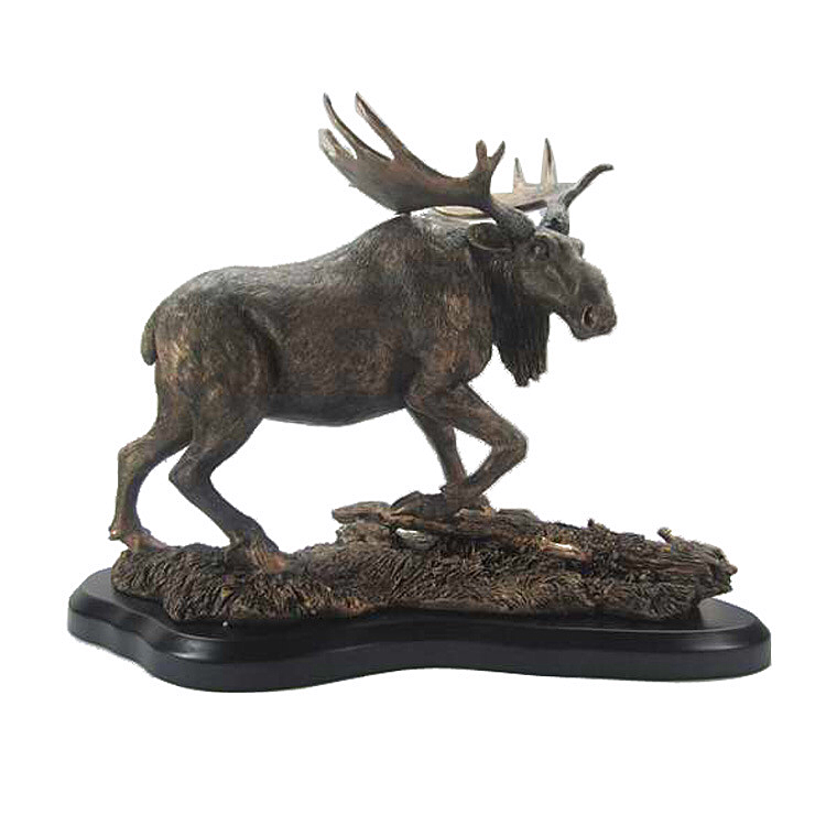 Antique bronze polyresin animal standing moose statue