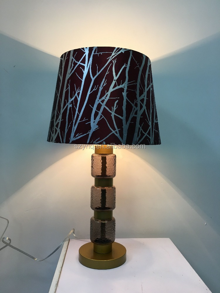 Grey Cylinder Bottle Stacked Glass with Copper Brass Metal Base and Branch Printed Shade Table Lamp for House Home Decorative