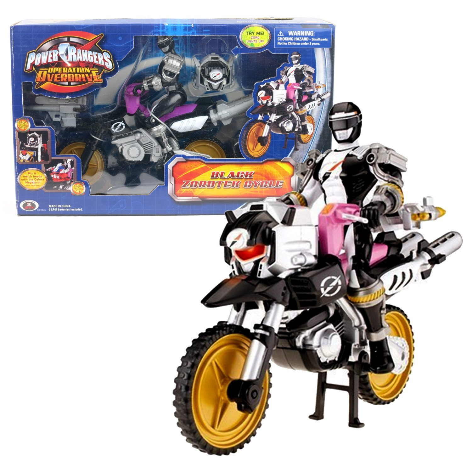 Bandai Year 2007 Power Rangers Operation Overdrive Series 8 Inch Long Action Figure Vehicle - BLACK ZORDTEK CYCLE with Black Power Ranger and Light-Up Zord Head