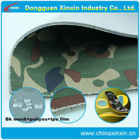 Camouflage printed polyester bk mesh fabric bonded poliyou foam backing