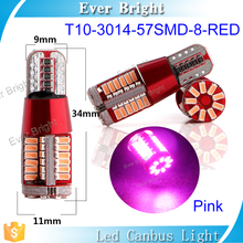 Interior roof lights for cars auto lamp led bulb t10 car led light license plate light pink color T10 57smd 3014 car canbus led