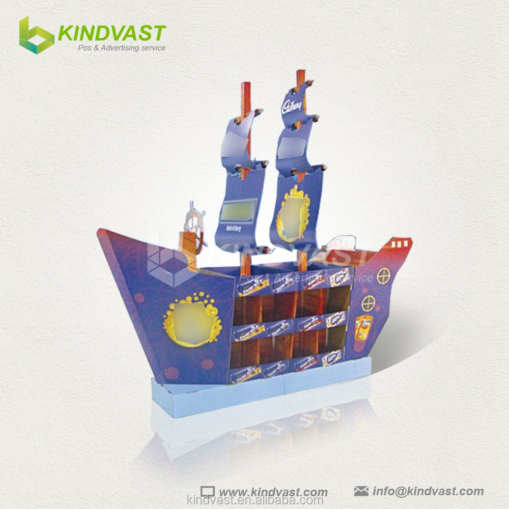 Creative Sailing Boat Shape Corrugated Paper Display