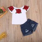 fashion children clothes summer girls' clothing sets roses tops + Denim shorts kid girls clothes set