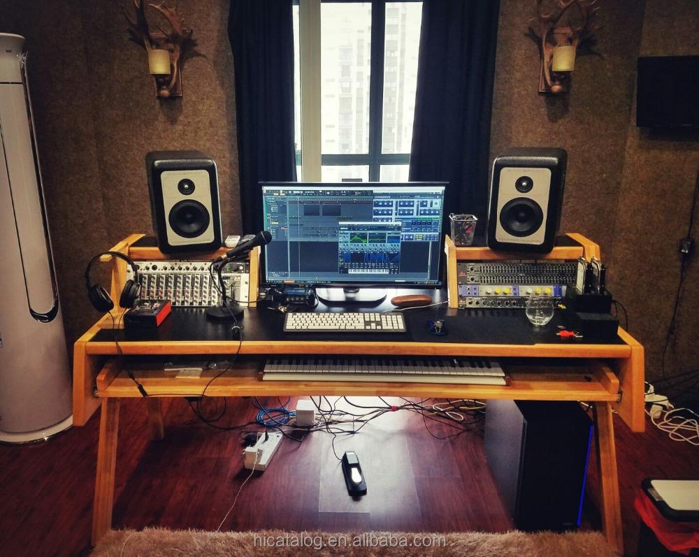 Bureau voor muziek studio mengen home recording houten for Bureau home studio