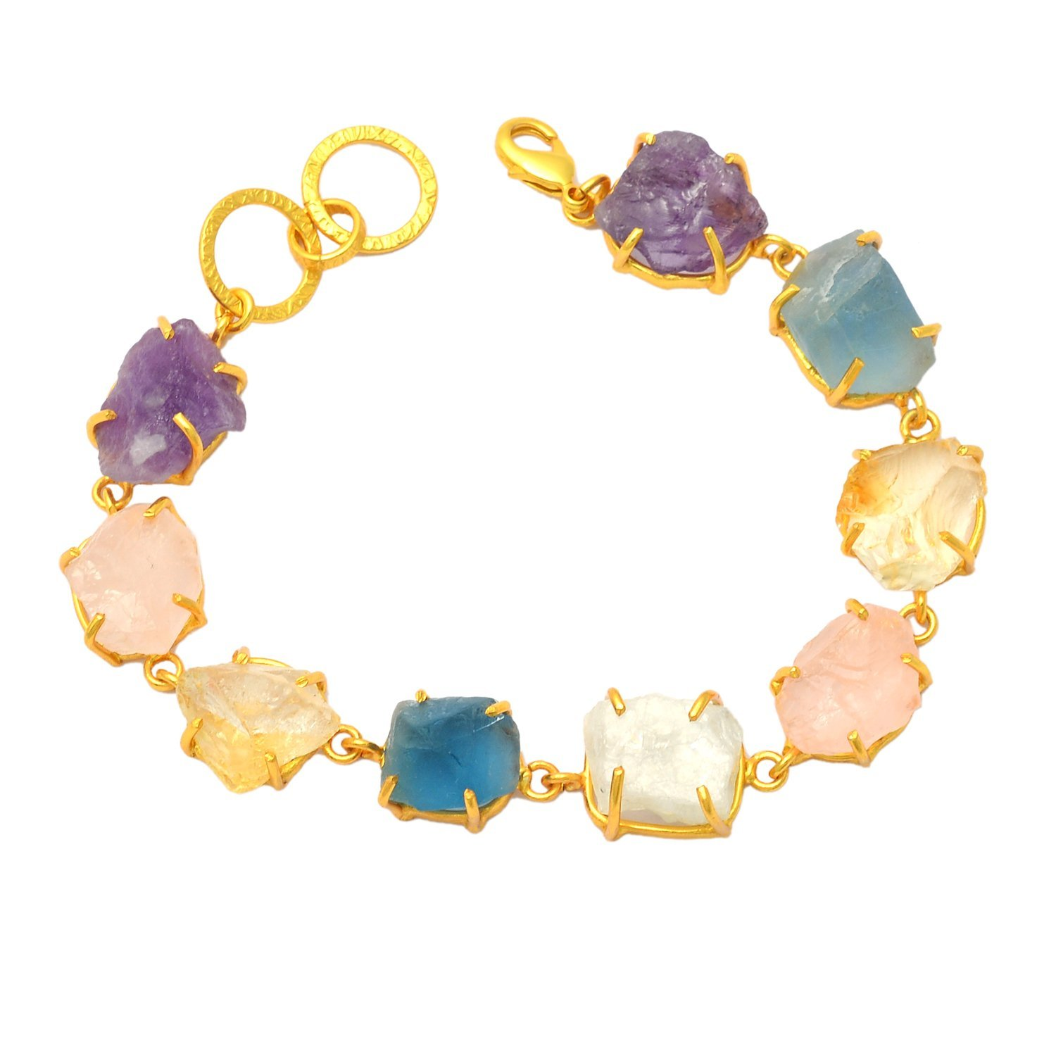 eurasia Handmade Rose Quartz Amethyst Moonstone Rough Gemstone Gold Plated Bracelet
