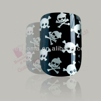 Cool Skull Design Pre Glued Artificial Nails And Stamping Nail Art