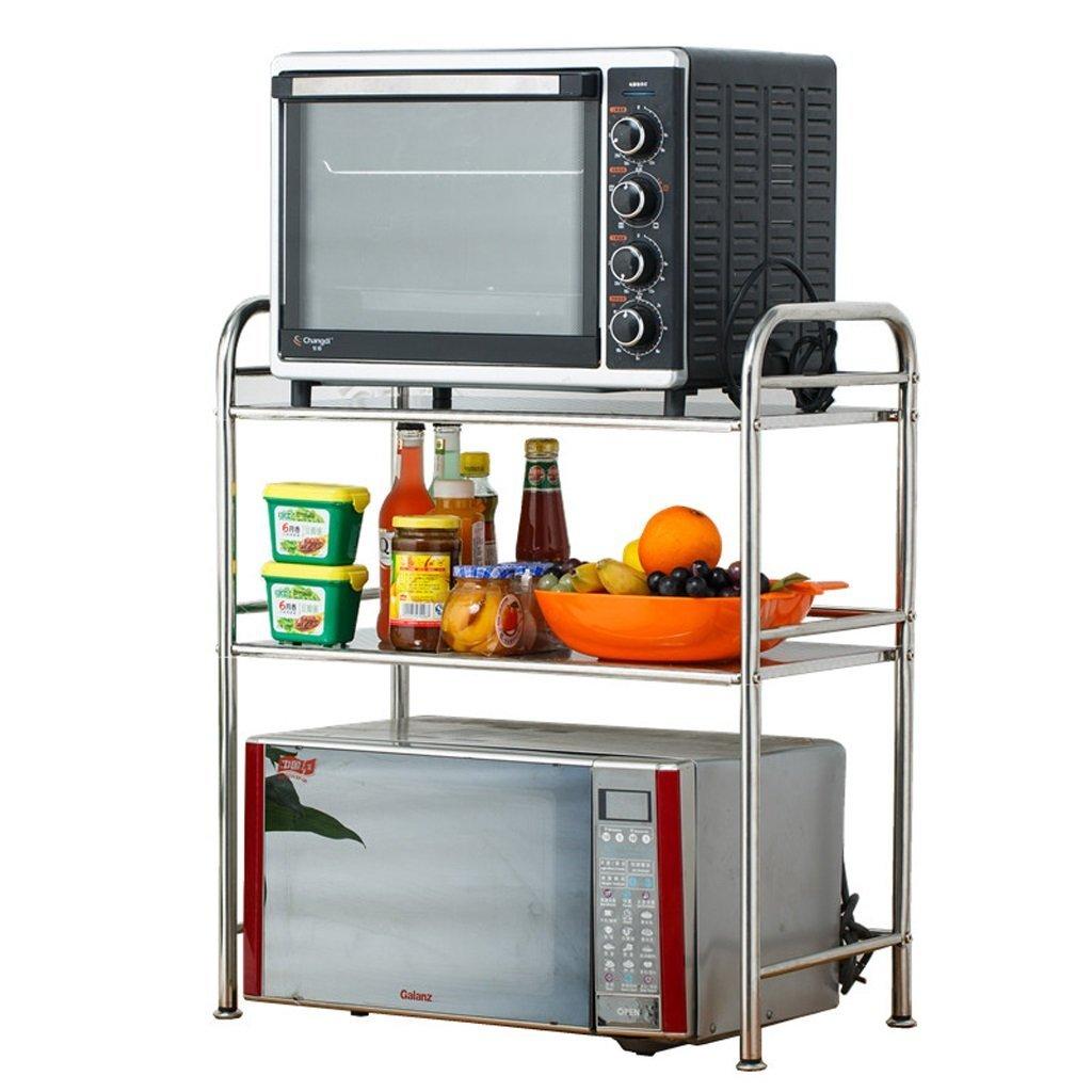 Kitchen storage Three-tier stainless steel microwave oven rack/kitchen oven/Electric appliances Shelf/seasoning spice rack/storage shelf (Size : 355570cm)