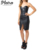 New Fashion OEM Dress Ladies Zip Sexy Black Faux Leather Tight Bustier Dress