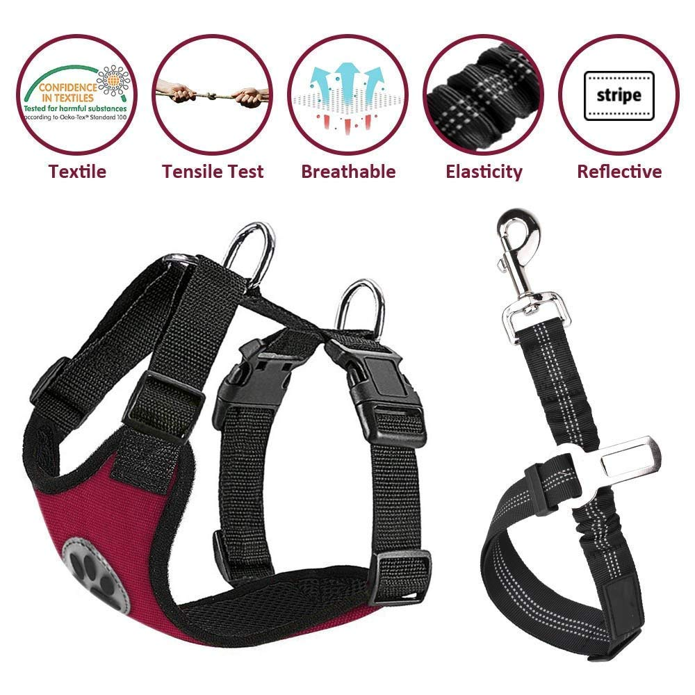 Nasus Dog Car Harness Seat Belt Vest Harness, Multifunction Adjustable Double Breathable Mesh Fabric Car Vehicle Connector Belt Dogs Travel Walking Trip
