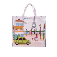 china eco friendly wholesale custom printed folding Bopp laminated pp polypropylene woven shopping bag with handle