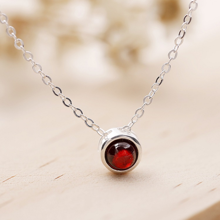 Classic new <strong>fashion</strong> 925 sterling silver red garnet necklace for women agate stone pendant necklace wholesale