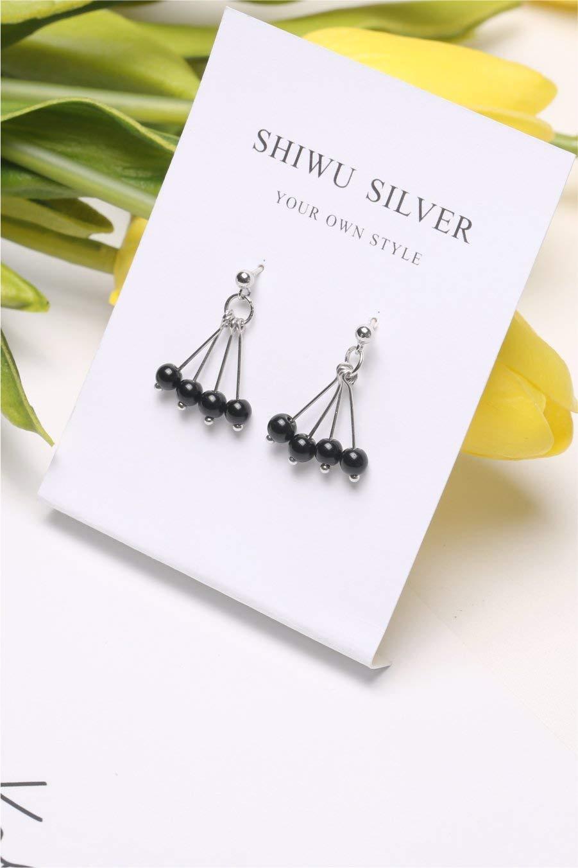 wu Decorated Elegant red Beans Earrings Earring Dangler Eardrop s925 Sterling Silver Women Girls Creative Sweet Personality (Black one Pair