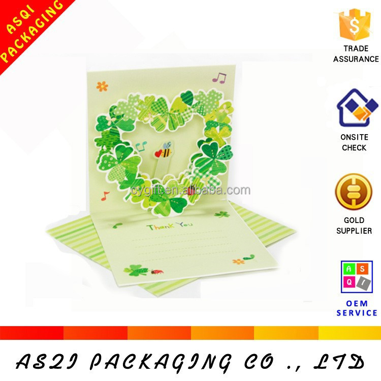 Handmade manufacture love heart shape design fancy thanksgiving day greeting card