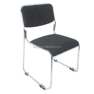 top sale cheap No arm office furniture mesh fabric stackable chrome conference poly chair