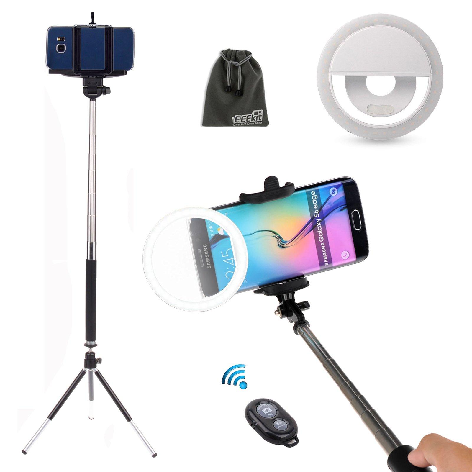 EEEKit 5in1 Selfie Kit for Samsung Galaxy Note 9 8 iPhone X 8/8 Plus, Selfie Stick Pole Monopod, Ring Fill Light Up Flash Luminous LED, Mini Tripod Stand, Mini Remote Control