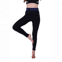 2019 Factory price solid color waist letter printed fashion mature women bulk black legging