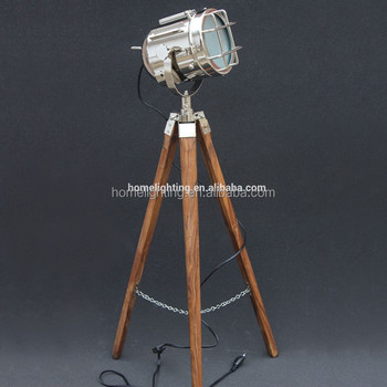 F-380 Hollywood Antique floor tripod lamp Marine Nautical Spotlight Designer Decorative adjustable timber floor lamp