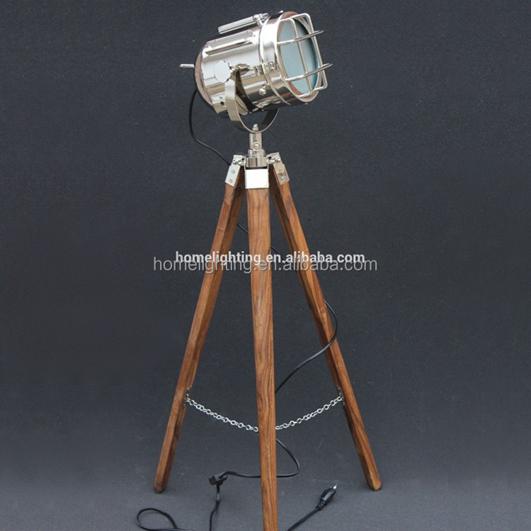 F-380 Hollywood Antique Floor Lighting LED Lamp Marine Nautical Spotlight Designer Decorative Wooden Tripod