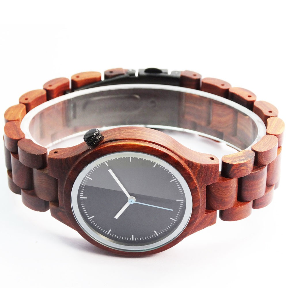 Quality Handmade Wood Watches Natural Wooden Watch Men's Wristwatch Chirstmas Gift Maple Sandalwood Brown Color Wood Watch