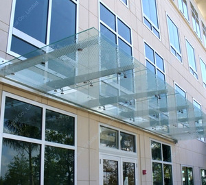Custom design hotel large door glass canopy awning