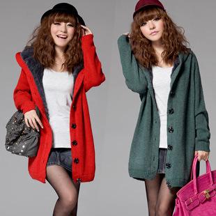 Осень и зима женщины средний - длинная утолщение свитер верхняя одежда девочки кардиган мех плащ пальто