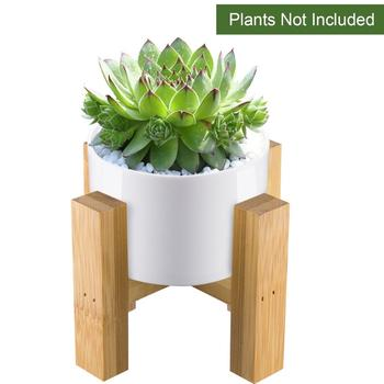 Modern White Round Ceramic Planter Pot With Bamboo Stand Indoor Plant Holder For Succulent Plants
