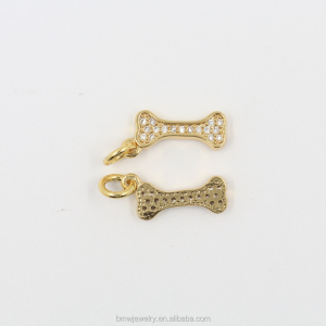 Great CZ Jewelry Supplies Bone Connector Charms Paved with Tiny Zircon Crystals in Gold