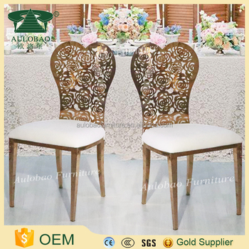 Flower Carved Back Rose Gold Metal Dining Chair