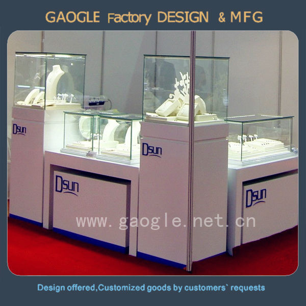 Mdf Jewelry Case Display Cabinet With Led Spot Lights