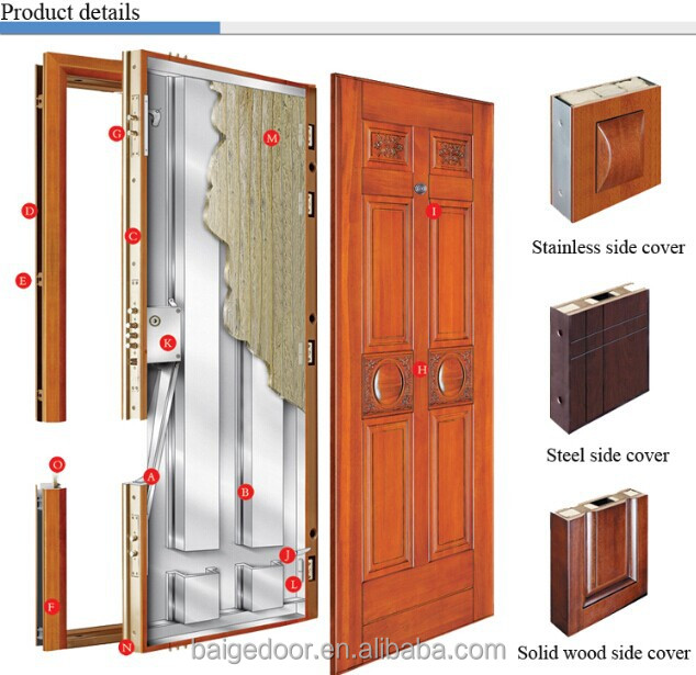 Bg af9027 security door armored wood door main entrance for Office main door design
