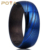 POYA Jewelry 8mm Damascus Steel Wedding Band Blue Plated Wood Sleeve Interior