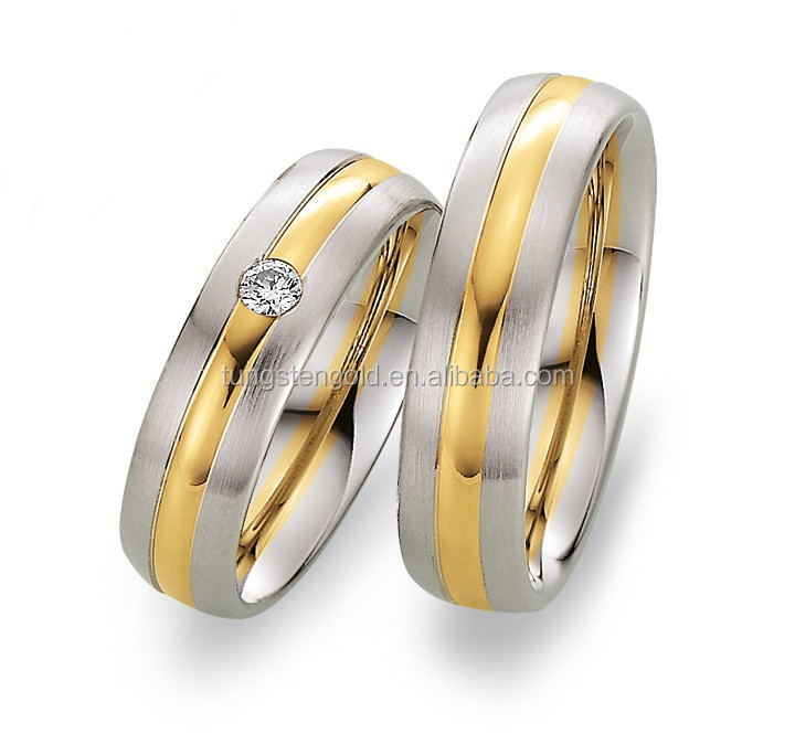 Hot sale promotion 18K gold plated cz diamond ring lovers ring titanium steel couple wedding rings