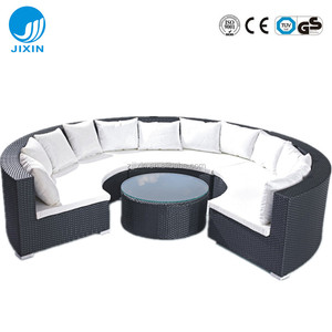 Outdoor luxury Patio All Weather Rust Proof rattan wicker round sectional garden furniture Sofa Set with coffee table