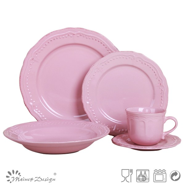 Broadside Simple Stylish Pure Color Pink Dinner Set