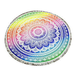 High quality custom fashion circle printed beach towels microfiber turkish round beach towel with tassel fringe