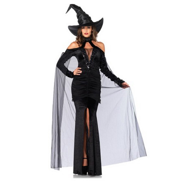 Black Witch halloween costumes for women Cosplay Witch Dress Sexy Open Fork mermaid tail costume Sleeves Gown disfraces adultos