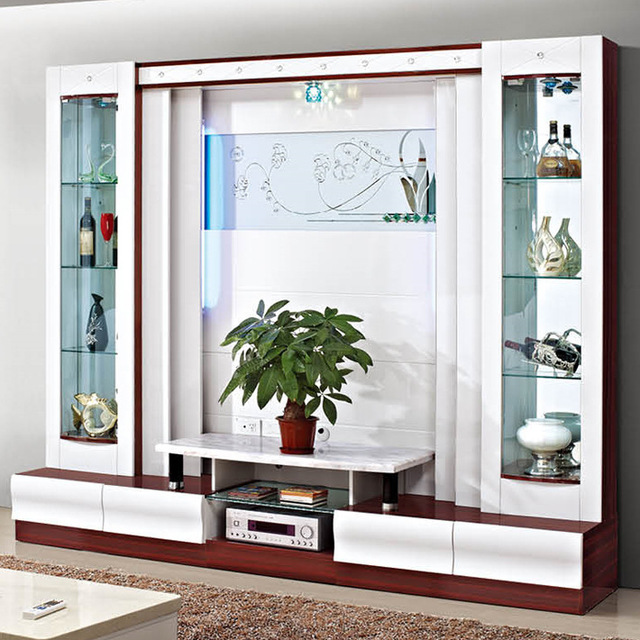 Hot Style Wooden Tv Unit Furniture Design Modern Mirroed TV Table