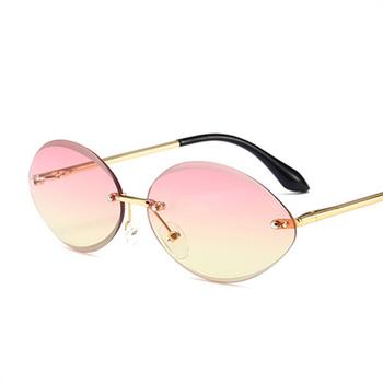 88aecaddc23e New Oval Sunglasses for Women Rimless Diamond Cutting Lens Sun Glasses  Female Ocean Clear Purple Lenses
