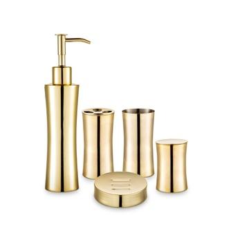Bath Accessory Set Hotel Gold Metal
