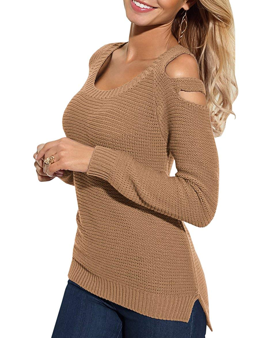 Bigyonger Womens Cold Shoulder Knitted Sweaters Fall Long Sleeve Scoop Neck Pullover Jumpers