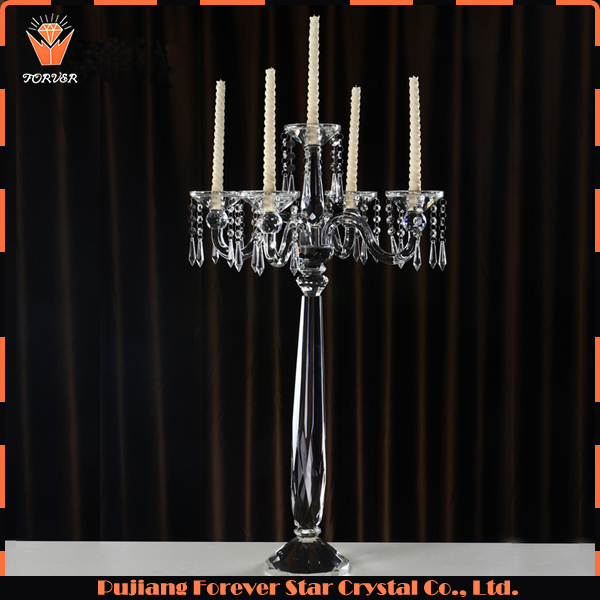 newest bling wedding crystal candelabra 5 arms on sale
