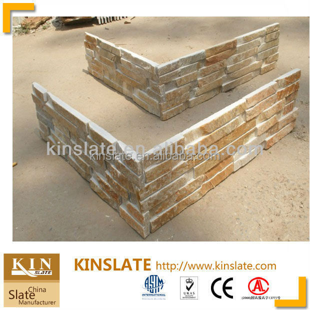 Wholesale Natural Beige Quartzite Ledger Stone manufactured home wall panels