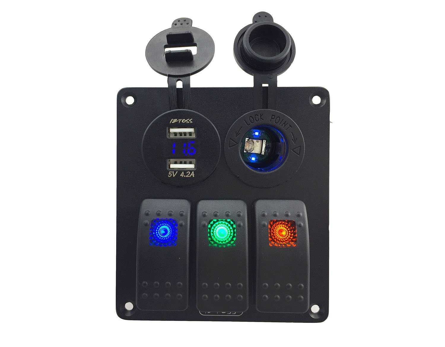 IZTOSS led 3 gang DC12V/24V switch panel with led power socket 4.2A dual USB voltmeter and wiring kits